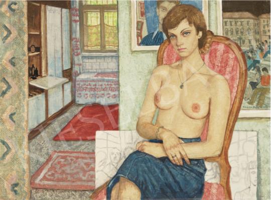Czene Béla - Félmeztelen lány farmerszoknyában, 1972 festménye