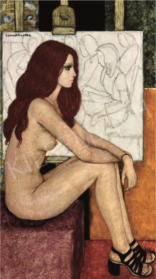 Czene Béla - Vörös hajú akt fekete szandálban, 1974 festménye