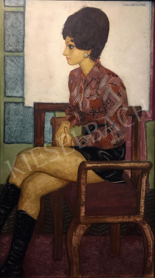 Czene Béla - Miniszoknyás lány fekete csizmában, 1972 festménye