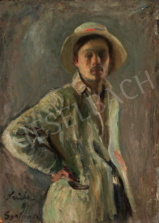 Szüle Péter - Kalapos önarckép, 1911 festménye