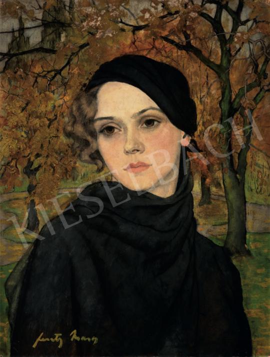 Feszty Masa - Barna szemű lány őszi fák előtt, 1920-as évek festménye
