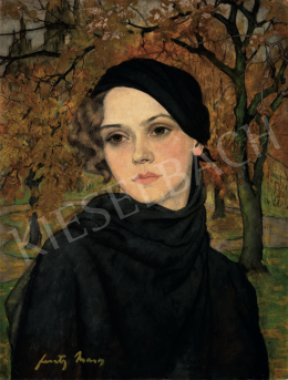Feszty, Masa - Brown-eyed Girl in Autumn Landscape, 1920s