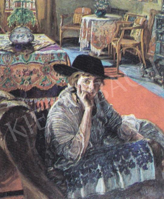 Perlmutter Izsák - Kalapos hölgy a szalonban, 1916 festménye