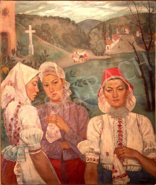 Hikádi Erzsébet - Népviseletbe öltözött asszonyok, 1942 festménye