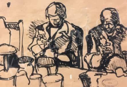 Gruber Béla - Ketten a konyhában (Anyuka és Jenő papa) festménye