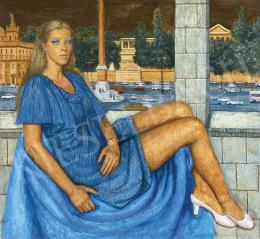 Czene Béla - Kék szemű lány (Róma, Piazza del Popolo), 1983