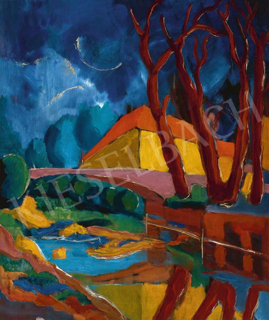 Ismeretlen magyar festő, 1925 körül - Folyópart híddal | 60. Téli Aukció aukció / 9 tétel