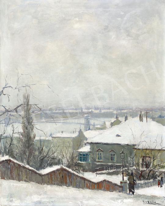 Guzsik Ödön - Kilátás a Dunára (Téli hangulat a Rózsadombon), 1930-as évek | 60. Téli Aukció aukció / 11 tétel