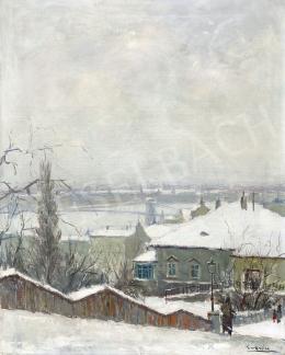 Guzsik, Ödön - View to the Danube (Winter Mood in Rózsadomb), 1930s