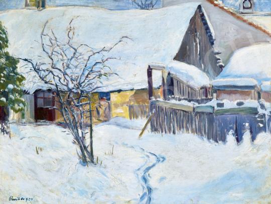 Paál Albert - Behavazott udvar, 1924   60. Téli Aukció aukció / 12 tétel