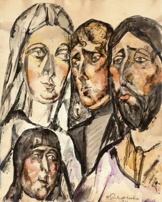 Perlrott Csaba Vilmos - Expresszív arcok, 1922 | 60. Téli Aukció aukció / 15 tétel