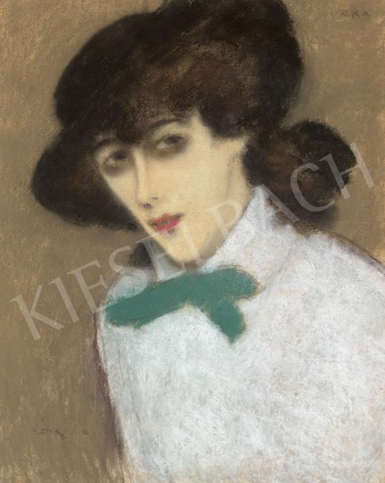 Rippl-Rónai József - Kalapos lány zöld masnival (Zorka), 1910-es évek második fele | 60. Téli Aukció aukció / 20 tétel