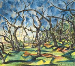 Dömötör, Gizella - The Brook Zazar in Nagybánya with Trees, 1924