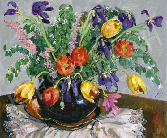 Biai-Föglein István - Virágok vázában (Tulipánok) | 60. Téli Aukció aukció / 23 tétel