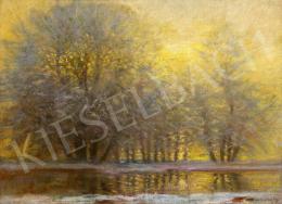 Mednyánszky László - Téli erdő különleges fényekkel