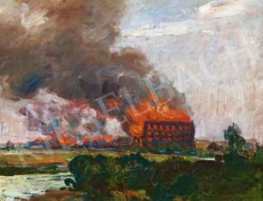 Skuteczky Döme - Folyóparti táj (Tűz) | 60. Téli Aukció aukció / 26 tétel