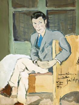 Schiller Géza - Férfi szobában (A kék nyakkendő), 1920