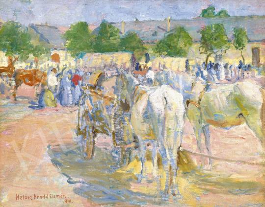 Halász-Hradil Elemér - Heti vásár a kisváros főterén, 1910 | 60. Téli Aukció aukció / 31 tétel