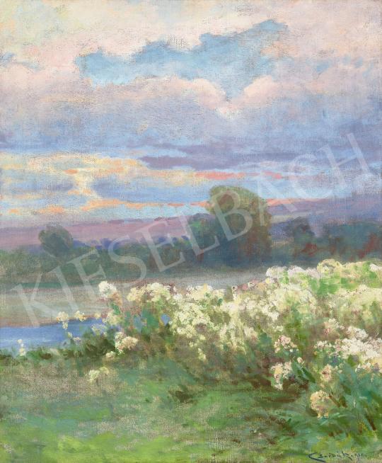 Csordák Lajos - Virágos mező a folyóparton, 1910   60. Téli Aukció aukció / 33 tétel