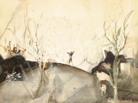 Harmos Károly - Dombtetőn (Táj emberalakkal és házzal) | 60. Téli Aukció aukció / 36 tétel