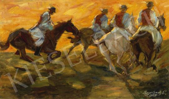 Kieselbach Géza - Lovasok (Csikósok), 1929   60. Téli Aukció aukció / 37 tétel