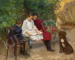 Kléh János - Képes folyóiratot lapozgató lányok, 1905