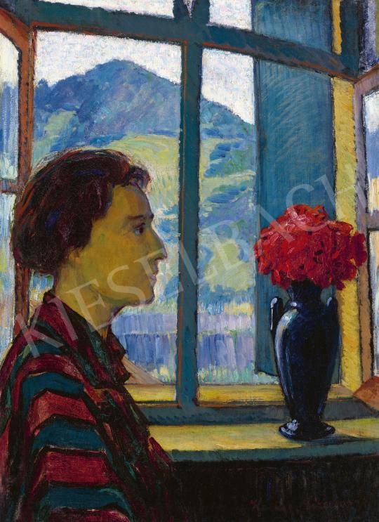 Kádár Géza - Kilátás a művész múterméből, háttérben a Keresztheggyel (A művész felesége csíkos blúzban) | 60. Téli Aukció aukció / 53 tétel