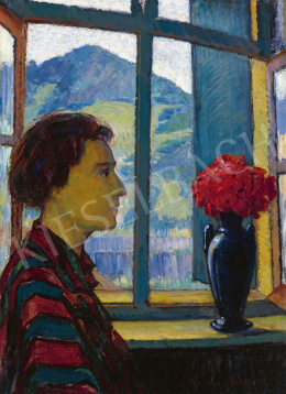 Kádár, Géza - View from the Studio in the Background with the Kereszthegy (The Painter's Wife in Striped Blouse)