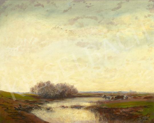 Mednyánszky László - Átkelés a folyón (Fények a folyó felett)   60. Téli Aukció aukció / 60 tétel