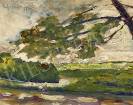 Scheiber Hugó - Park szélfútta fákkal, 1910-es évek vége