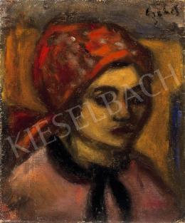 Czóbel Béla - Piroskendős nő, 1930-as évek