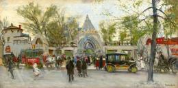 Berkes Antal - Az Állatkert bejárata a Ligetben, 1913