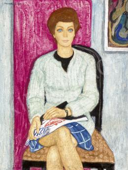 Czene, Béla jr. - Girl in Blue Checkerd Skirt, 1969