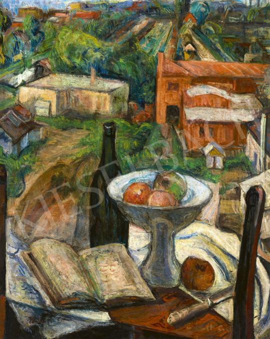 Perlrott Csaba Vilmos - Csendélet könyvvel, gyümölcsös tállal   60. Téli Aukció aukció / 127 tétel