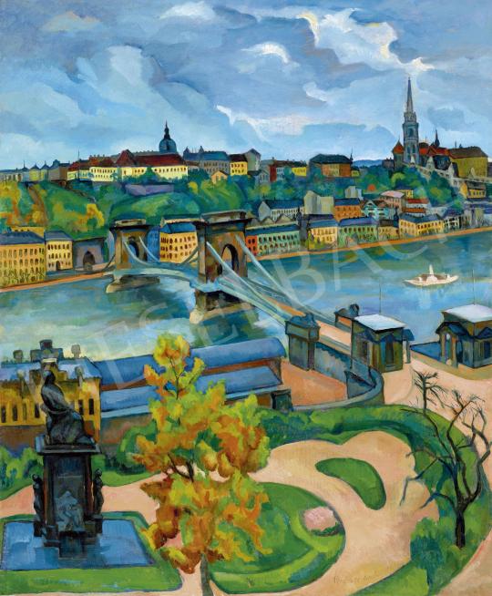 Perlrott Csaba Vilmos - Budapest látképe a Lánchíddal, 1910-es évek | 60. Téli Aukció aukció / 133 tétel