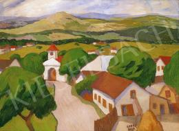 Kádár, Béla - Hilly Landscape with Red - Roofed Cottage