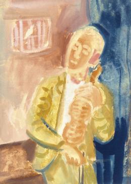 Berény Róbert - Madárdal (Fiú hegedűvel)