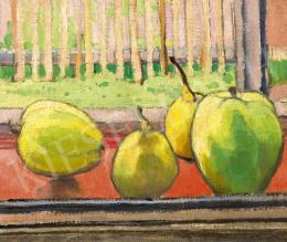 Mihalik Dániel - Almák a művész szolnoki műtermének ablakában (Gyümölcsös csendélet)