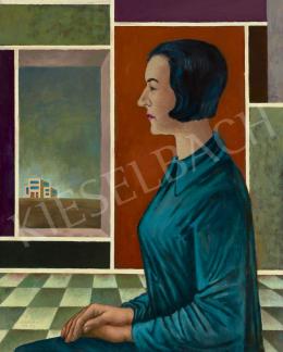 Bortnyik Sándor - A művész feleségének portréja Bauhaus házzal (Klári), 1973