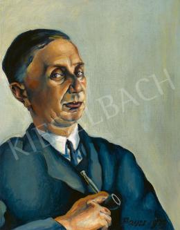 Konstantin Bauer - Kék kabátos férfi pipával, 1927