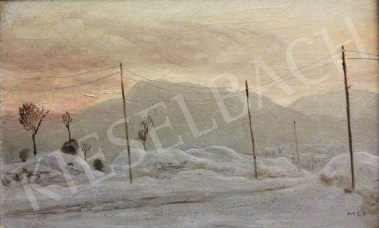 Molnár C. Pál - Téli táj póznákkal festménye