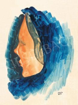 Kádár, Béla - Female Head with Blue Kerchief
