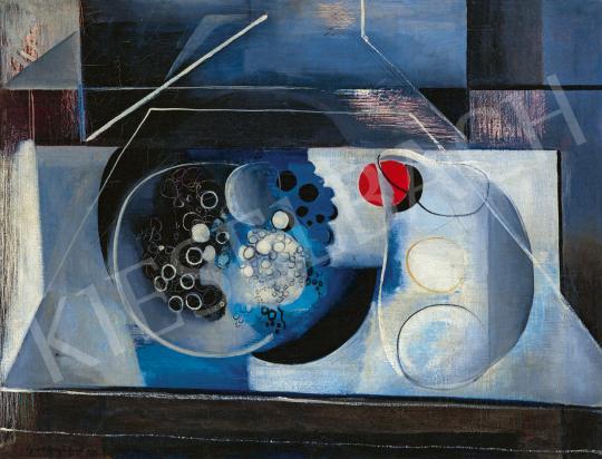 Gadányi Jenő - Kék-piros csendélet (Absztrakt csendélet, Szőlős csendélet), 1933 festménye