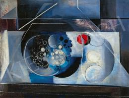 Gadányi Jenő - Kék-piros csendélet (Absztrakt csendélet, Szőlős csendélet), 1933