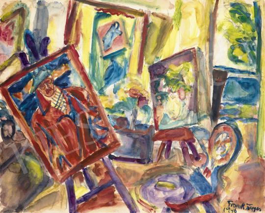 Frank Frigyes - Műterem önarcképpel, 1946 festménye