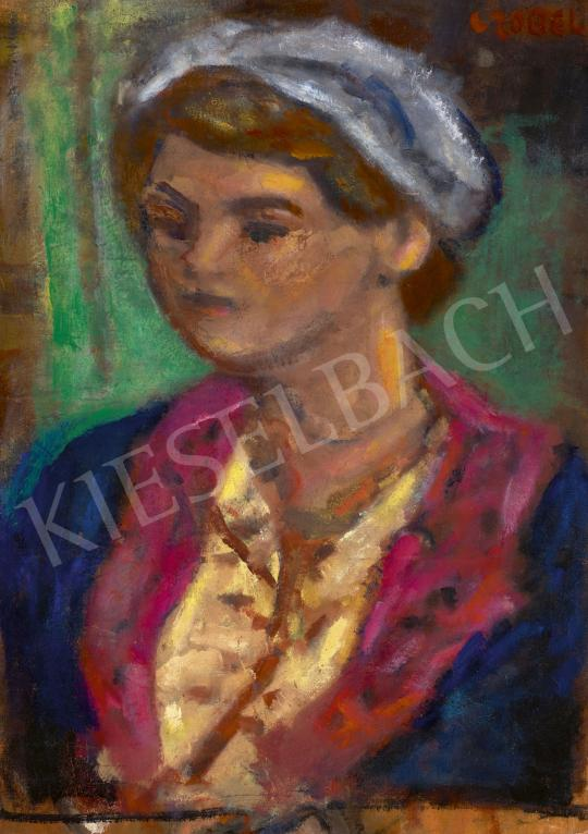 Eladó  Czóbel Béla - Kék kabátos lány festménye