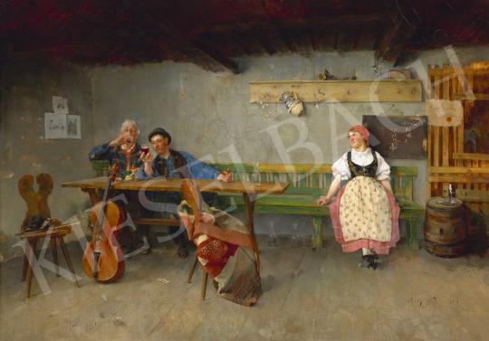 Eladó Hollósy Simon - Egy pohár bor (Áldomás) festménye