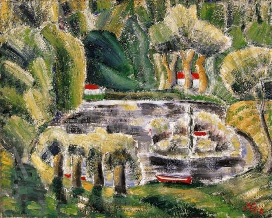 Klie Zoltán - Mese-táj piros csónakkal, 1925 | 14. Aukció aukció / 43 tétel