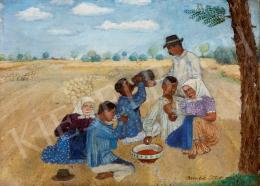 Benedek Péter - Ebédelő aratók, 1924