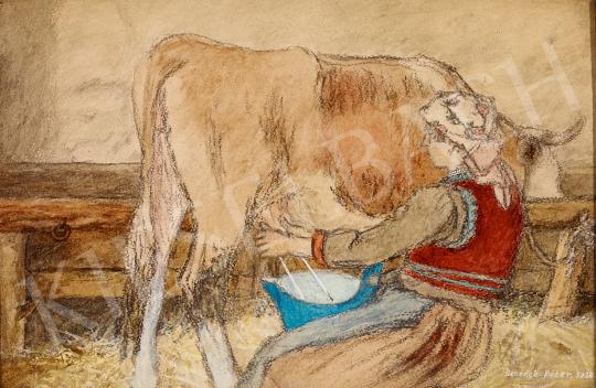 Eladó  Benedek Péter - Tehenet fejő lány, 1928 festménye